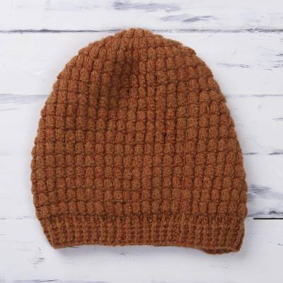 Alpaca blend hat, 'Sweet Pattern' - Patterned Alpaca Blend Hat in Pumpkin from Peru