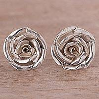 Sterling silver button earrings, 'In Full Bloom' - Sterling Silver Blooming Rose Button Earrings