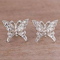 Sterling silver button earrings, 'In Flight' - Sterling Silver Butterflies in Flight Button Earrings