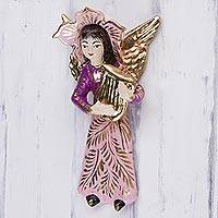 Plaster wall art, 'Angel Plays the Lyre' - Handcrafted Peruvian Wall Sculpture of an Angel with a Lyre