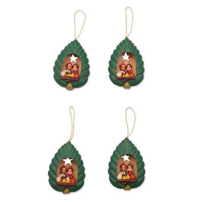 4 Handcrafted Ceramic Nativity Scene Christmas Ornaments