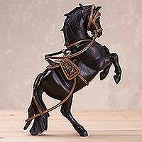 Wood and leather sculpture, 'Indomitable Horse' - Handcrafted Wood and Leather Horse Sculpture from Peru