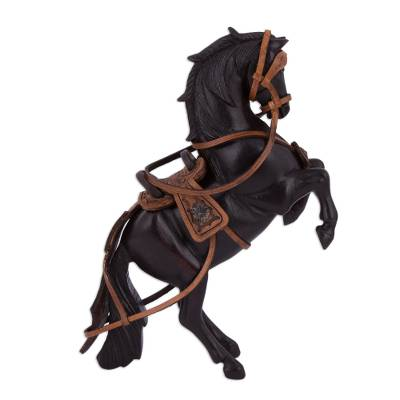 Handcrafted Mahogany and Leather Horse Sculpture from Peru