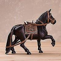Wood and leather sculpture, 'Paso Steed' - Hand-Carved Wood and Leather Horse Sculpture from Peru