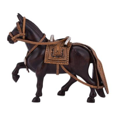 Hand-Carved Mahogany and Leather Horse Sculpture from Peru