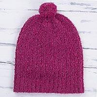 Alpaca blend hat, 'Attractive Magenta' - Knit Alpaca Blend Boucle Hat in Magenta from Peru