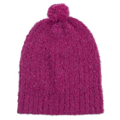 Knit Alpaca Blend Boucle Hat in Magenta from Peru