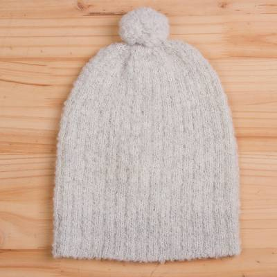 Alpaca blend hat, 'Attractive Eggshell' - Knit Alpaca Blend Hat in Eggshell from Peru