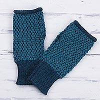 100% alpaca fingerless gloves, 'Turquoise Anta Wara' - 100% Alpaca Fingerless Gloves in Turquoise from Peru