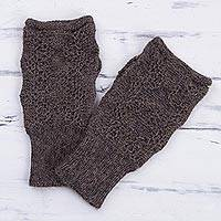 100% alpaca fingerless gloves, 'Urubamba Beauty in Graphite' - 100% Alpaca Fingerless Gloves in Graphite from Peru