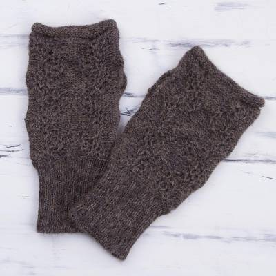 100% alpaca fingerless mitts, 'Urubamba Beauty in Graphite' - 100% Alpaca Fingerless Gloves in Graphite from Peru