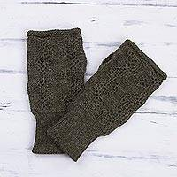 100% alpaca gloves, 'Urubamba Beauty in Olive' - 100% Alpaca Fingerless Gloves in Olive from Peru