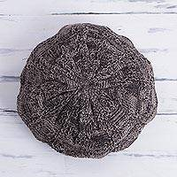 100% alpaca hat, 'Qori Strength' - Patterned 100% Alpaca Hat in Graphite and Clay from Peru