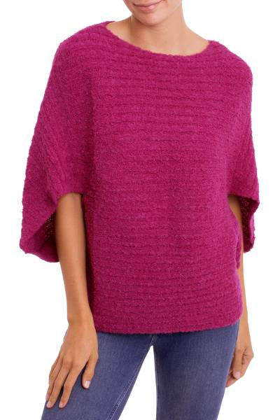 Alpaca blend poncho, 'Berry Bliss' - Magenta Alpaca Wool Blend Poncho with Arm Openings
