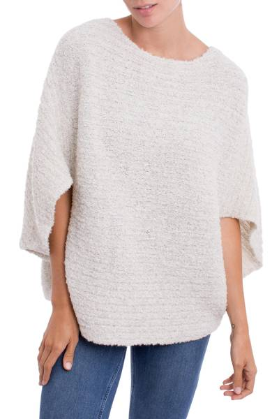 Ivory Alpaca Wool Blend Poncho with Arm Openings