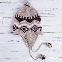 Alpaca blend chullo hat, 'Burgundy Miski Wayra' - Alpaca Blend Chullo Hat with Burgundy Motifs from Peru