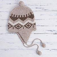 Alpaca blend chullo hat, 'Coffee Miski Wayra' - Alpaca Blend Chullo Hat with Coffee Motifs from Peru