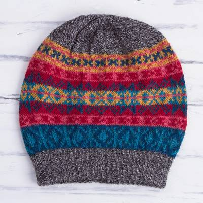 100% alpaca hat, 'Multicolored Inca' - Multicolored Knit 100% Alpaca Hat from Peru