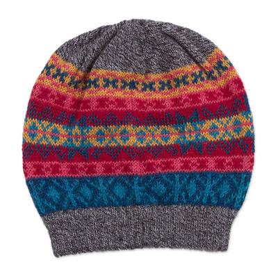 100% alpaca hat, 'Multicolored Inca' - Multicolored Knit 100% Alpaca Hat from Peru