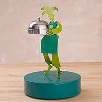 Aluminum sculpture, 'Harlequin Chef' - Aluminum Harlequin Sculpture in Green from Peru