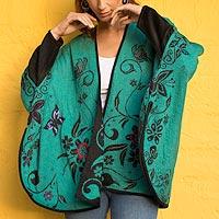Reversible 100% baby alpaca cardigan, 'Elegant Garden' - Turquoise Reversible Butterfly 100% Baby Alpaca Cardigan