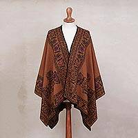 Alpaca blend reversible ruana, 'Incan Majesty in Burnt Orange' - Orange-Brown and Black Reversible Alpaca Blend Ruana