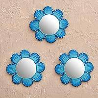 Papier mache wall mirrors, 'Blue Mini Bloom' (set of 3) - Peruvian Blue Papier Mache Flower Wall Mirrors (Set of 3)
