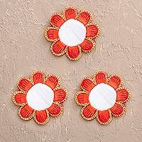 Papier mache mirrors, 'Sunset Mini Flowers' (set of 3) - Recycled Paper Orange Papier Mache Flower Mirrors (Set of 3)