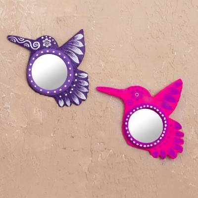 Papier mache mirrors, 'Hummingbird's View' (pair) - Recycled Paper Hummingbird Papier Mache Mirrors (Pair)