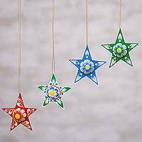 Papier mache ornaments, 'Bright Stars' (set of 4) - Recycled Star Papier Mache Holiday Ornaments (Set of 4)