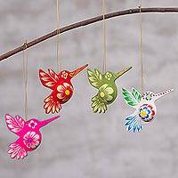 Papier mache ornaments, 'Hummingbirds in Flight' (set of 4) - Hummingbird Papier Mache Holiday Ornaments (Set of 4)