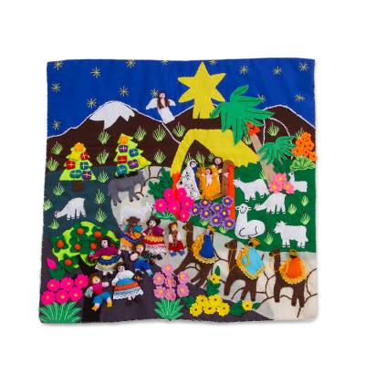 Unicef Market Cotton Blend Nativity Wall Hanging From Peru Joyful Nativity