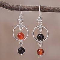 Carnelian and onyx dangle earrings, 'Harlequin' - Carnelian and Onyx Sterling Silver Dangle Earrings