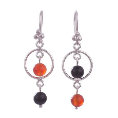 Carnelian and Onyx Sterling Silver Dangle Earrings
