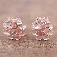 Rose quartz cluster earrings, 'Andean Corsage' - Rose Quartz Bead Cluster Flower and Sterling Silver Earrings