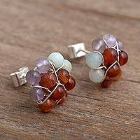 Agate cluster earrings, 'Andean Garden' - Agate Bead Cluster Flower and Sterling Silver Earrings