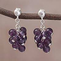 Amethyst cluster earrings, 'Cascading in Purple' - Amethyst Bead Cluster and Sterling Silver Dangle Earrings