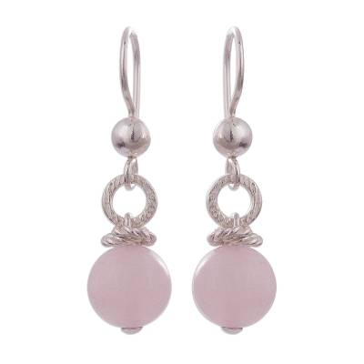 Handcrafted Rose Quartz and Sterling Silver Dangle Earrings
