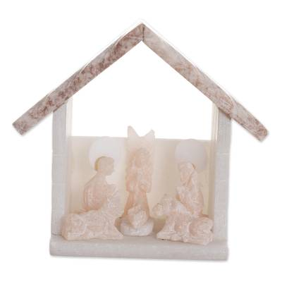 Handmade Stone Nativity Scene with a Grey Roof from Peru