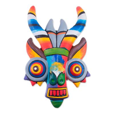 Ceramic mask, 'Rainbow Demon' - Handcrafted Ceramic Mask