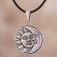 Silver pendant necklace, 'Celestial Partners' - Sun and Moon 950 Silver Pendant Necklace from Peru