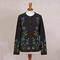 100% alpaca cardigan sweater, 'Floral Fanfare' - Dark Grey and Blue Flower 100% Alpaca Long-Sleeved Cardigan