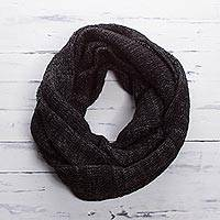 Alpaca blend infinity scarf, 'Night Mountains' - Black and Grey Alpaca Blend Infinity Scarf from Peru