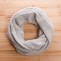 Alpaca blend infinity scarf, 'Cloud Cover' - Snow White Alpaca Blend Infinity Scarf from Peru