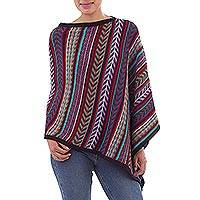 100% alpaca poncho, 'Color Currents' - Multicolor Striped 100% Alpaca Asymmetrical Poncho from Peru