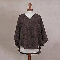 100% alpaca poncho, 'Rich Earth' - Brown and Grey Button-Front 100% Alpaca V-Neck Poncho