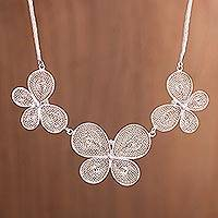 Sterling silver filigree pendant necklace, 'Fable Butterflies' - Sterling Silver Filigree Butterflies Pendant Necklace