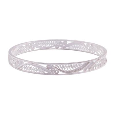 Handcrafted Sterling Silver Filigree Waves Bangle Bracelet