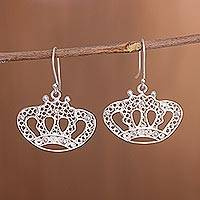Sterling silver filigree dangle earrings, 'Princess Tiara' - Handcrafted Sterling Silver Filigree Crown Dangle Earrings