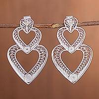 Sterling silver filigree drop earrings, 'Heart Cascade' - Handcrafted Sterling Silver Filigree Heart Drop Earrings